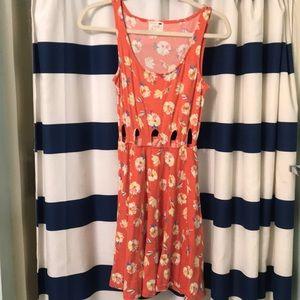 Orange, floral dress